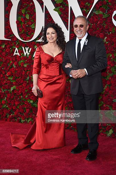 Gloria Estefan and Emilio Estefan attend the 70th Annual Tony Awards at The Beacon Theatre on June 12 2016 in New York City