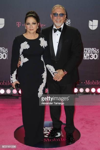 Gloria Estefan and Emilio Estefan attend Univision's 30th Edition Of 'Premio Lo Nuestro A La Musica Latina' at American Airlines Arena on February 22...
