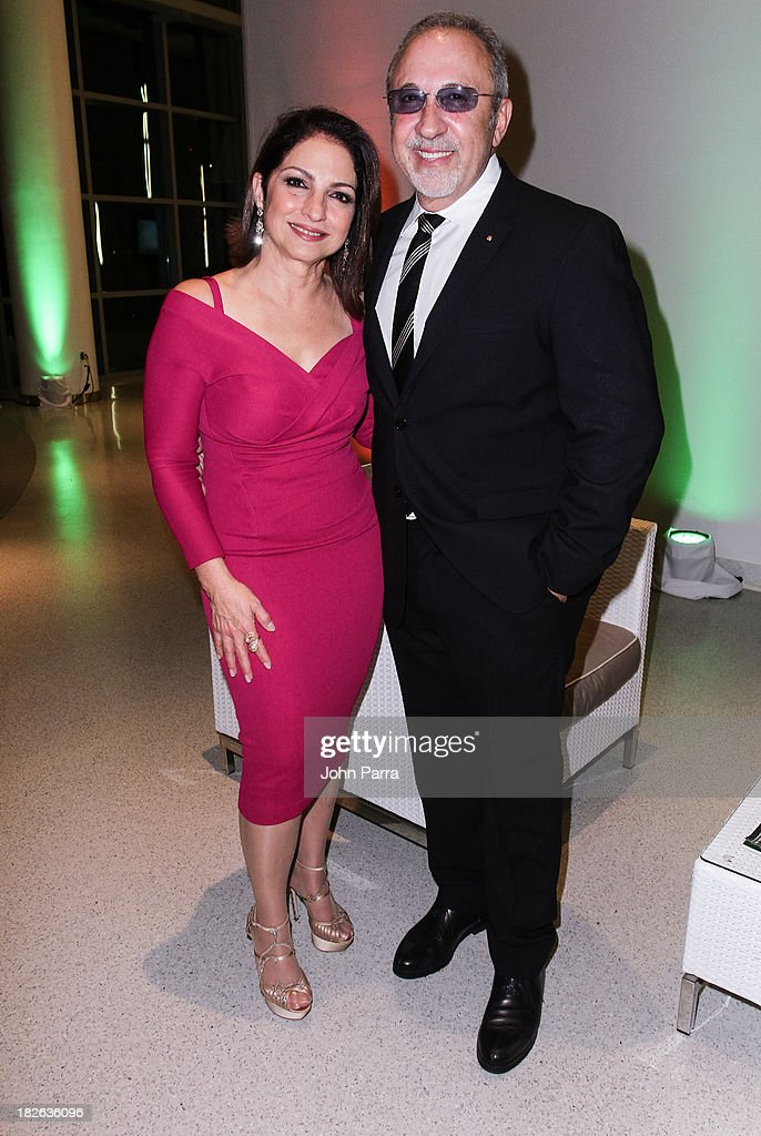 Gloria Estefan and Emilio Estefan backstage at Festival Miami's 30th Anniversary Season Kick Off With Gloria Estefan at Frost School of Music at the University of Miami Gusman Concert on October 1, 2013 in Coral Gables, Florida.