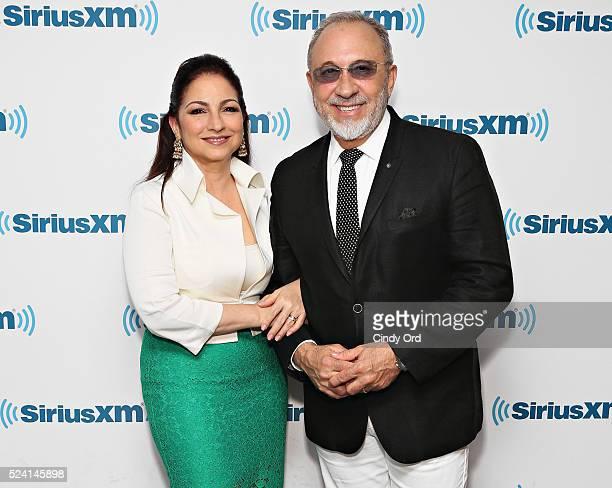 Gloria Estefan and Emilio Estefan visit the SiriusXM Studio on April 25 2016 in New York City