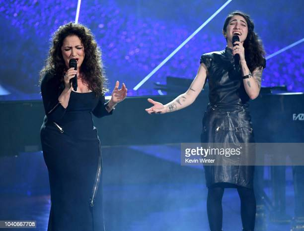 Gloria Estefan and her daughter Emily Estefan perform onstage at Q85 A Musical Celebration for Quincy Jones at the Microsoft Theatre on September 25...