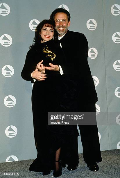 Gloria Estefan and husband Emilio Estefan attend the 36th Annual Grammy Awards held at Radio City Music Hall circa 1994 in New York City