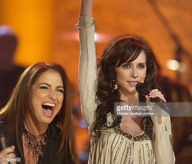 Gloria Estefan and Jennifer Love Hewitt perform at 'Women Rock Girls and Guitars' airing on the Lifetime Television Network October 25th 2002 at 10 pm
