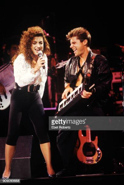 Gloria Estefan and Jim Trompeter performing with Miami Sound Machine at Radio City Music Hall in New York City on July 25 1988