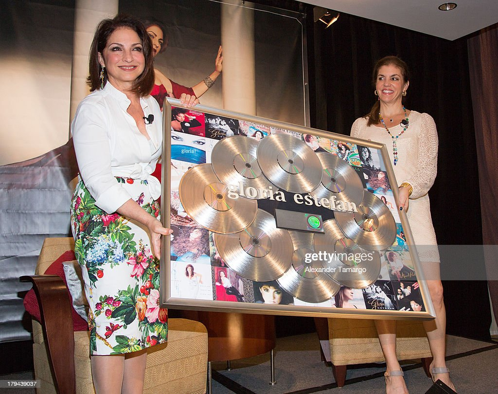 Gloria Estefan and Leila Cobo attend a press conference announcing Gloria Estefan's new recording 'The Standards' at Mandarin Oriental on September 3, 2013 in Miami, Florida.