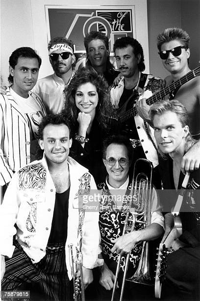 Gloria Estefan and Miami Sound Machine pose for a portrait during an appearance on Top Of The Pops TV show in Los Angeles California in 1987