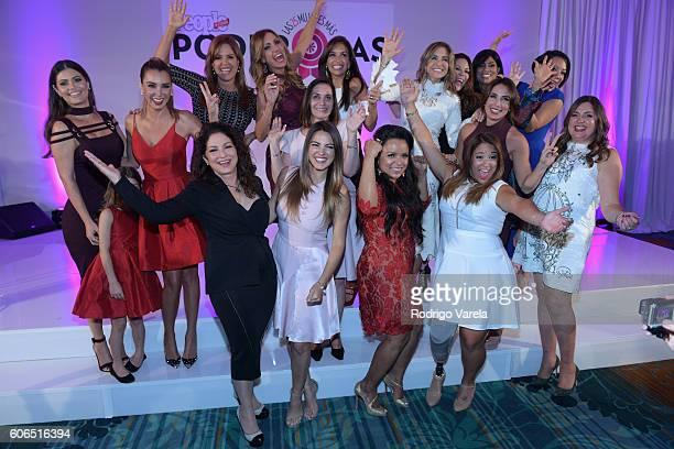 Gloria Estefan and Monique Manso pose with Las 25 Mujeres Mas Poderosas during the People En Espanol Celebrates Las 25 Mujeres Mas Poderosas at The...