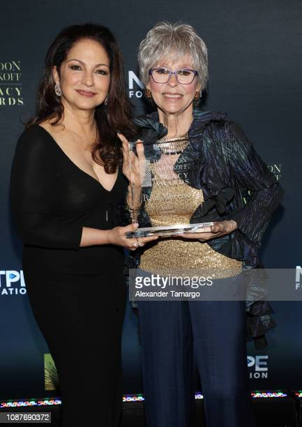 Gloria Estefan and Rita Moreno are seen at the 2019 NATPE Miami Brandon Tartikoff Legacy Awards at the Fontainebleau Hotel on January 23 2019 in...