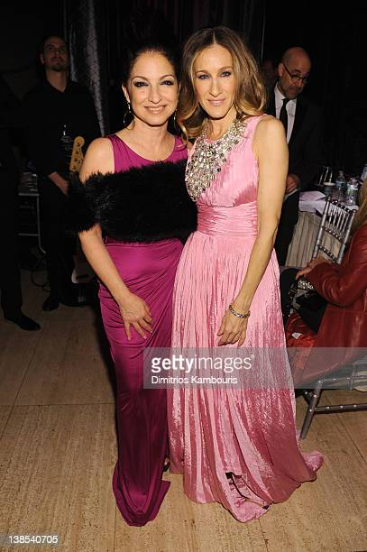 Gloria Estefan and Sarah Jessica Parker attend the amfAR New York Gala To Kick Off Fall 2012 Fashion Week Presented By Hublot at Cipriani Wall Street...