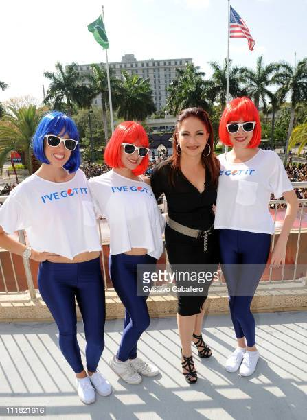 Gloria Estefan and the Pepsi Girls at Pepsi Turns Up The Heat At Miami X Factor Auditions at Bank United Center on April 7 2011 in Miami Florida