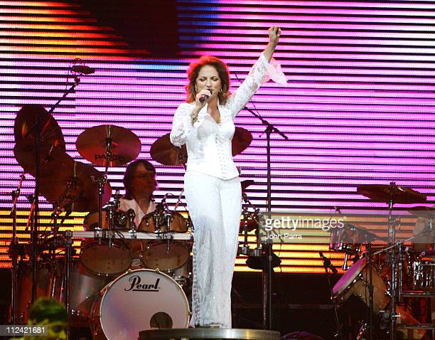 Gloria Estefan during Gloria Estefan Last Live And ReWrapped Summer 2004 Tour Day 1 at American Airline Arena in Miami United States