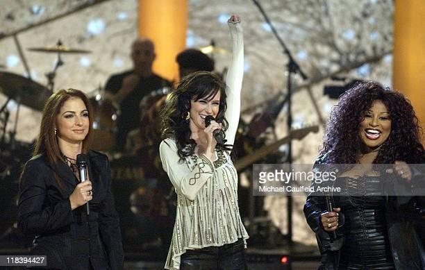 Gloria Estefan Jennifer Love Hewitt and Chaka Khan perform at 'Women Rock Girls and Guitars' airing on the Lifetime Television Network October 25th...