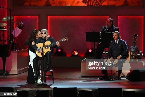 Gloria Estefan Jose Feliciano and actor Andy Garcia perform at the 2019 Gershwin Prize Honoree's Tribute Concert at DAR Constitution Hall on March 13...
