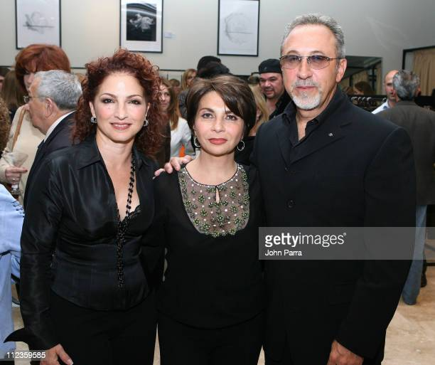 Gloria Estefan, Mayda Cisneros and Emilio Estefan during Mayda Cisneros Couture Collection Grand Opening at The Collection Building in Coral Gables,...