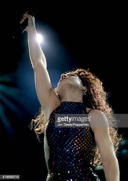 Gloria Estefan performing on stage at Wembley Arena in London on the 12th May, 1991.