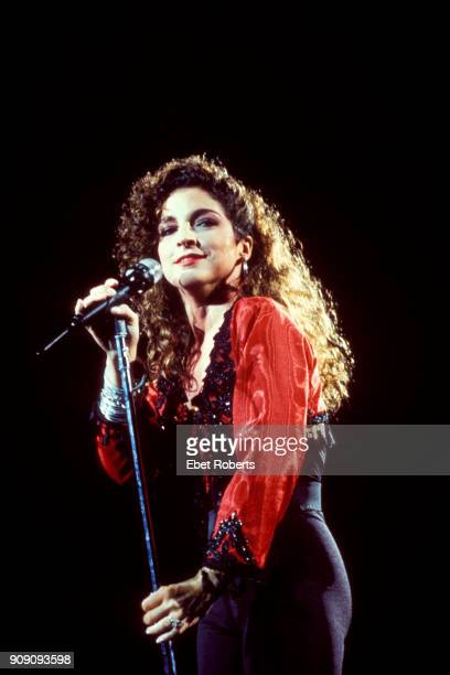 Gloria Estefan performing with Miami Sound Machine at Radio City Music Hall in New York City on July 25 1988