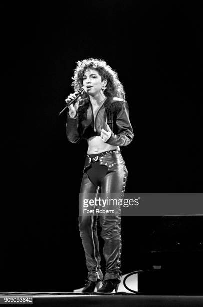 Gloria Estefan performing with Miami Sound Machine at Radio City Music Hall in New York City on July 26 1988