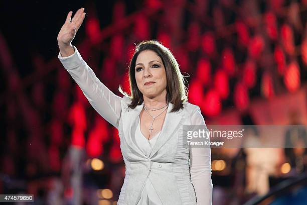 Gloria Estefan performs during the rehearsal of the 26th Anniversary Broadcast of the National Memorial Day Concert on May 23 2015 in Washington DC