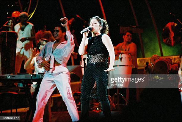 Gloria Estefan performs on stage at the Birmingham NEC on December 1st 1996 in Birmingham England