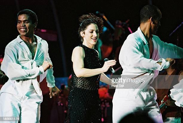 Gloria Estefan performs on stage at the Birmingham NEC on December 1st, 1996 in Birmingham, England.