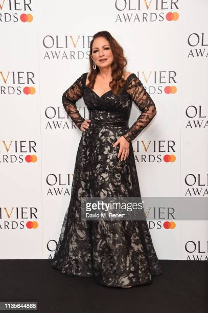 Gloria Estefan poses in the press room at The Olivier Awards 2019 with Mastercard at The Royal Albert Hall on April 7 2019 in London England