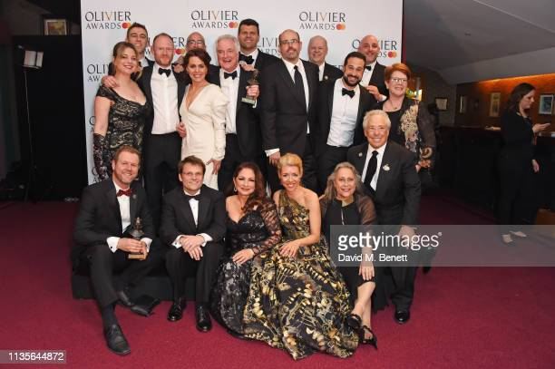 Gloria Estefan poses with cast and creatives behind Come From Away winner of Best New Musical in the press room at The Olivier Awards 2019 with...