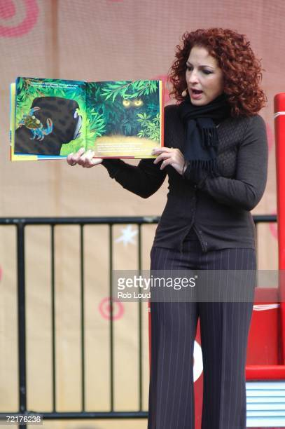 Gloria Estefan reads from her book Noelle's Treasure Tale during the Target Celebrates The Joy Of Reading In The Park event at Bryant Park on October...