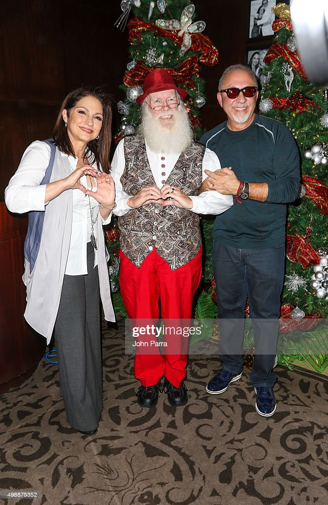 Gloria Estefan, Santa and Emilio Estefan host the 8th Annual Thanksgiving Feed A Friend at Bongos Cuban Cafe At Seminole Hard Rock Hotel And Casino on November 26, 2015 in Hollywood, Florida.