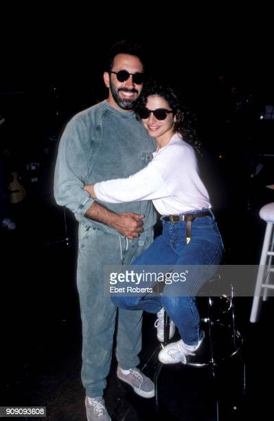 Gloria Estefan with husband and producer Emilio Estefan in Miami Florida on March 1988