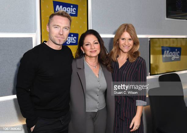 Gloria Estefan with Ronan Keating and Harriet Scott during a visit to Magic Radio on November 14 2018 in London England