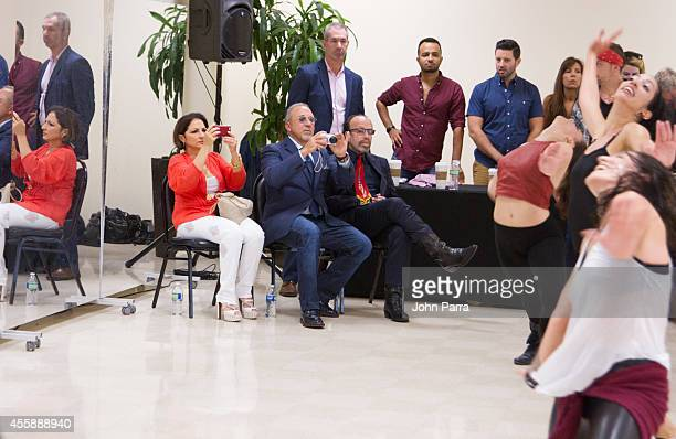 Gloria EstefanEmilio Estefan and Bernie Yuman see all dancers as they audition for On Your Feet at Adrienne Arsht Center on September 21 2014 in...
