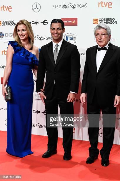 Gloria Fonts Suarez Francis X Suarez and Enrique Cerezo attend the red carpet during 'Jose Maria Forque Awards' 2019 at Palacio de Congresos on...