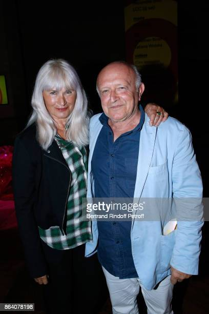 Gloria Friedmann and artist Bertrand Lavier attend the 'Bal Jaune Elastique 2017' Dinner Party at Palais Brongniart during FIAC on October 20 2017 in...
