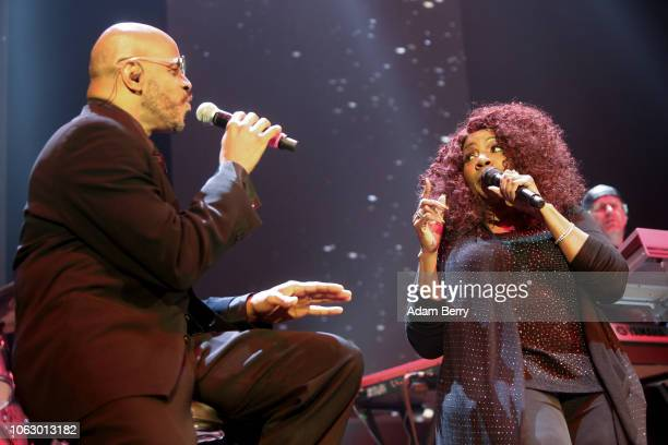 Gloria Gaynor and Harvey Hubert perform during a concert at Verti Music Hall on November 17 2018 in Berlin Germany