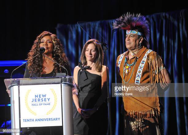 Gloria Gaynor Felipe Rose of The Village People and First Lady Tammy Murphy attend the 2018 New Jersey Hall Of Fame Induction Ceremony at Asbury Park...