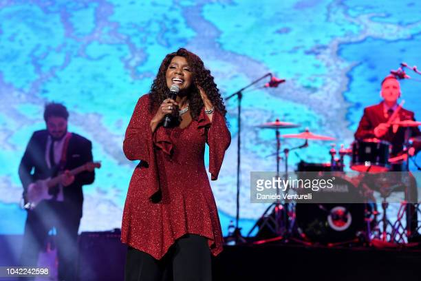Gloria Gaynor performs during the Gala for the Global Ocean hosted by HSH Prince Albert II of Monaco at Opera of MonteCarlo on September 26 2018 in...