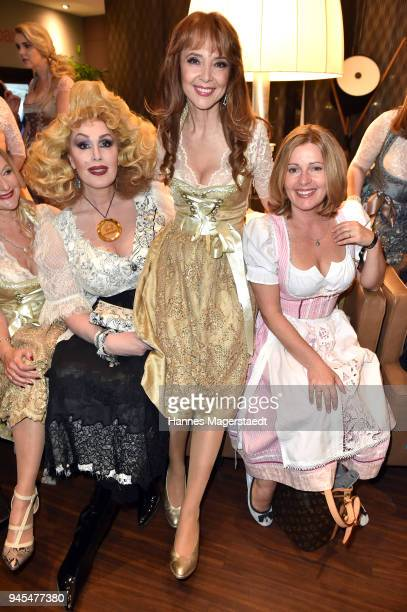Gloria Gray Cornelia Corba and Karin Thaler during Trachtentrends 2018 at Sheraton on April 12 2018 in Munich Germany