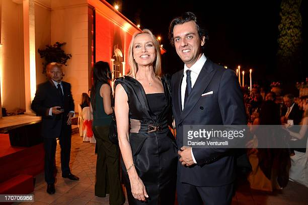 Gloria Guida and guest attend Taormina Filmfest and Prince Albert II Of Monaco Foundation Gala Dinner at on June 16 2013 in Taormina Italy