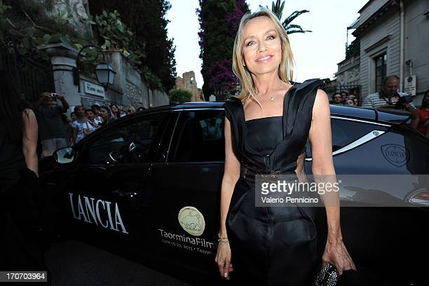 Gloria Guida arrives at the Lancia Cafe during the Taormina Filmfest 2013 on June 16, 2013 in Taormina, Italy.