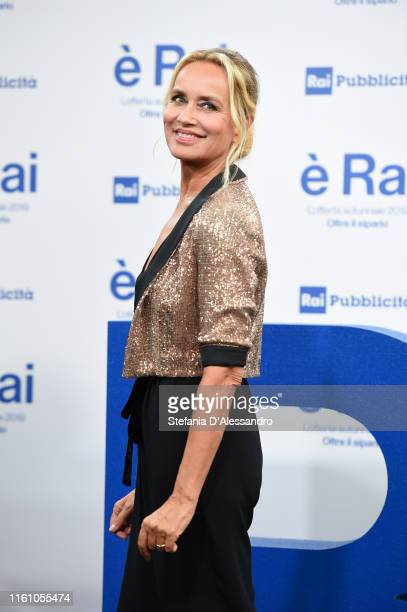 Gloria Guida attends the Rai Show Schedule presentation on July 09, 2019 in Milan, Italy.