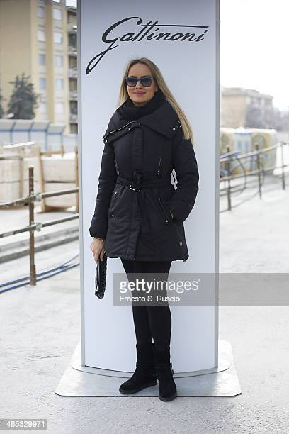 Gloria Guida attends the runway during the Gattinoni fashion show at Nuvola, as part of AltaRoma Fashion Week Spring/Summer 2014 on January 26, 2014...