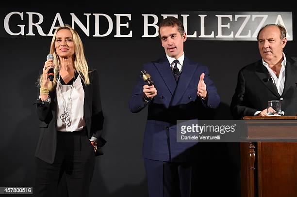 Gloria Guida Fabrizio Moretti and Gerry Scotti attends the Gala Dinner 'La Grande Bellezza' during the 9th Rome Film Festival on October 24 2014 in...