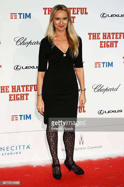Gloria Guida walks the red carpet for 'The Hateful Eight' premiere on January 28 2016 in Rome Italy