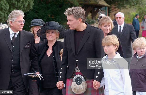 Gloria Hunniford and Family leave the Funeral of Caron Keating following her death from breast cancer last week at Hever Church in Edenbridge on...