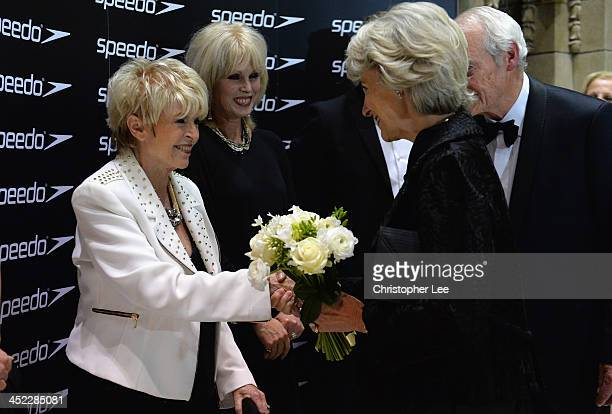 Gloria Hunniford and Joanna Lumley meet HRH the Duchess of Gloucester during the The House of Lords v House of Commons Speedo Charity Swim at...