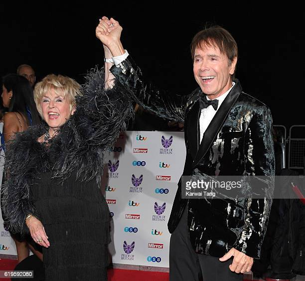 Gloria Hunniford and Sir Cliff Richard attend the Pride Of Britain Awards at The Grosvenor House Hotel on October 31 2016 in London England