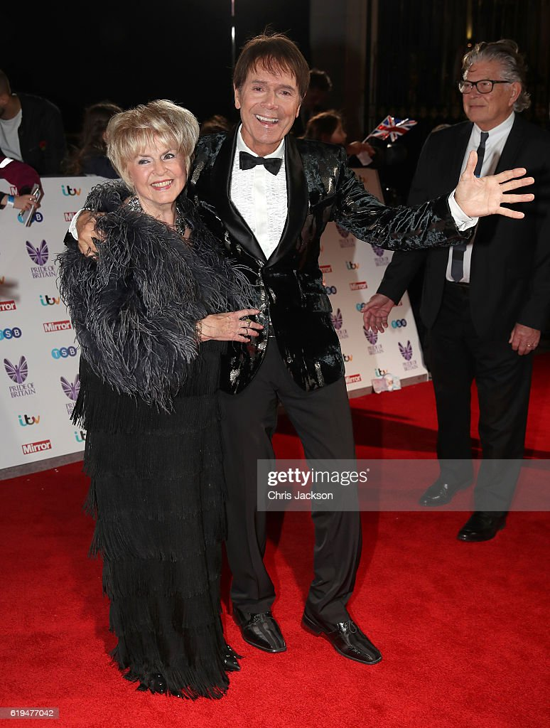 Gloria Hunniford and Sir Cliff Richard attends the Pride Of Britain awards at the Grosvenor House Hotel on October 31, 2016 in London, England.
