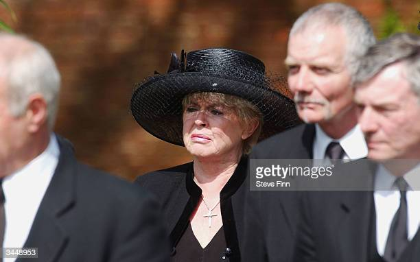 Gloria Hunniford attends the Funeral of Caron Keating following her death from breast cancer last week at Hever Church in Edenbridge on April 20 2004...
