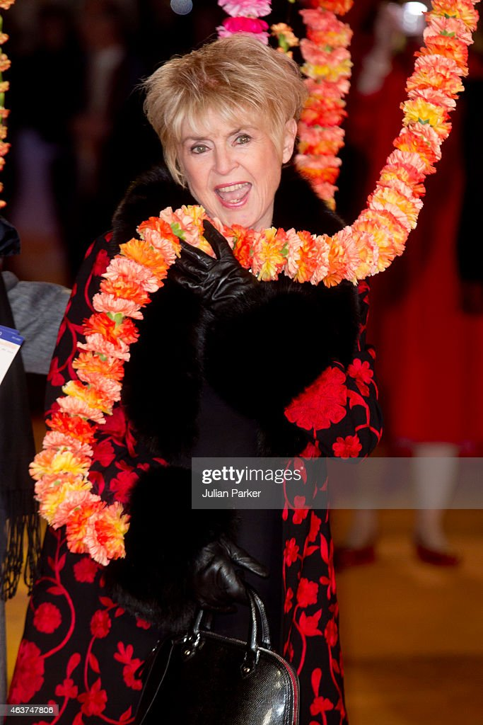 Gloria Hunniford attends The Royal Film Performance and World Premiere of 'The Second Best Exotic Marigold Hotel' at Odeon Leicester Square on February 17, 2015 in London, England.