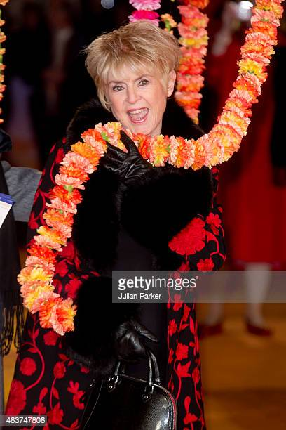 Gloria Hunniford attends The Royal Film Performance and World Premiere of The Second Best Exotic Marigold Hotel at Odeon Leicester Square on February...